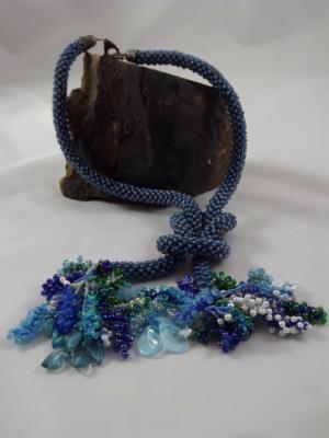 N-39 Light Blue Crocheted Rope Tassel Necklace