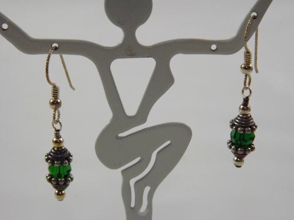 E-45 Green Bead & Sterling Earrings