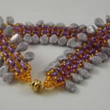 B-22a grey teardrop & purple bead bracelet