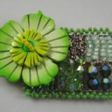 Lime Green Flower Brooch