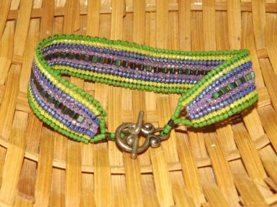 B-78 green & purple woven bracelet