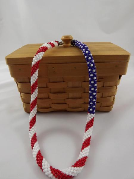 N-62 Red, White, & Blue Crocheted Rope Necklace