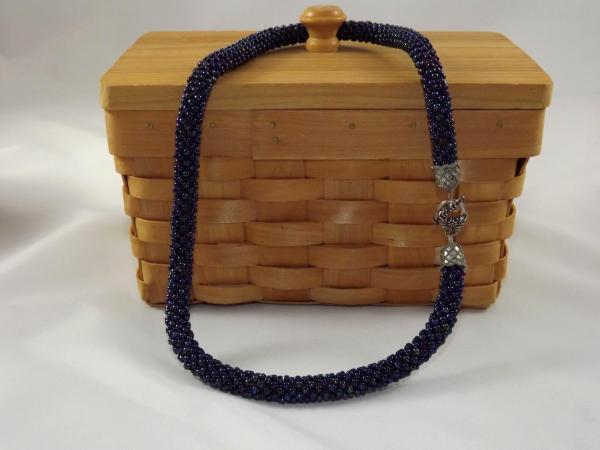 N-29 Oilslick Blue Crocheted Rope Necklace