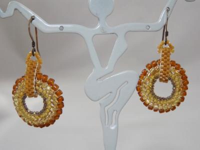E-33 Amber Beaded Medallion Earrings