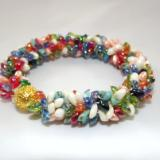 B-42 ivory, red, blue, peach, green, & orange spikey bracelet