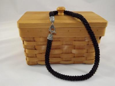 N-53 Black Crocheted Rope Necklace