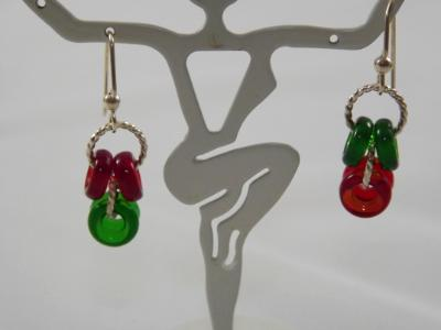 E-92 Red & Green Glass Donuts & Sterling Silver Earrings