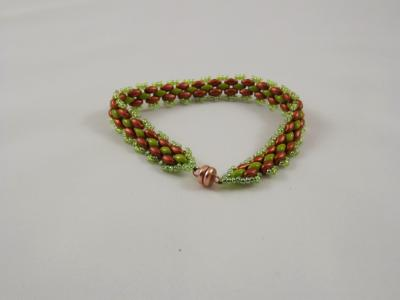 B-48 olive & copper beaded bracelet
