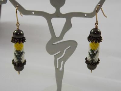 E-107 Yellow Tulip Bead Tube Earrings
