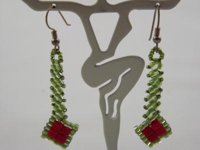 E-67 Green & Red Beaded Diamond Earrings