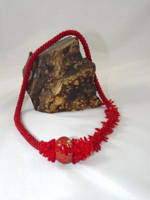 N-14 Red Crocheted Rope Asymmetrical Necklace with Focal Bead