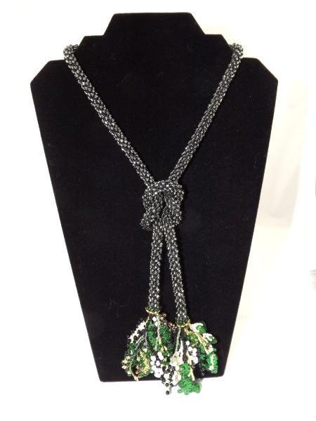 N-12 Midnight Black Crocheted Tassel Rope Necklace