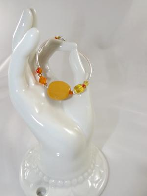 B-113 golden yellow Kazuri bead bracelet