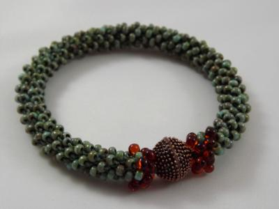 B-70 turquoise Picasso crocheted rope bracelet