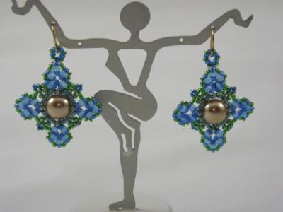 E-8 Blue & Green Floral Earrings with Pearl Center