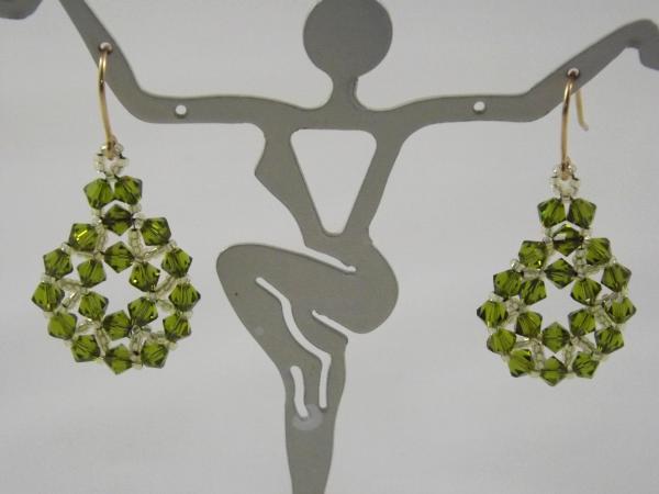E-6 Olive Swarovski Crystal Medallion Earrings