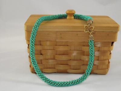 N-45 Bright Aqua Crocheted Rope Necklace