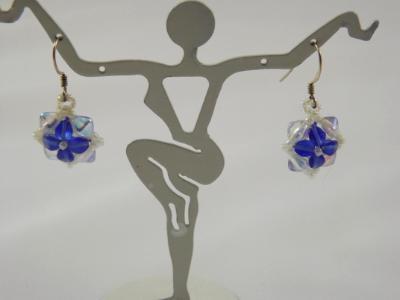 E-27 Blue & Clear Flower Earrings