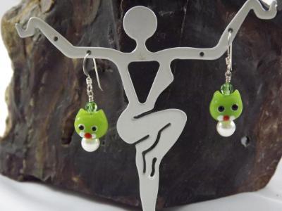 E-83 Lime Green Cat Earrings