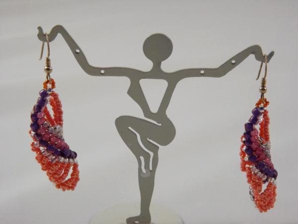 E-22 Tangerine & Purple Beaded Earrings