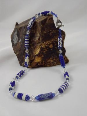 N-21 Shades of Blue Beaded Bead Necklace