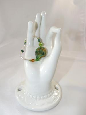 B-105 green Kazuri bead bracelet