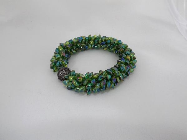B-58 green AB spikey bracelet