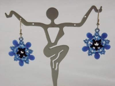 E-118 Blue Flower Earrings