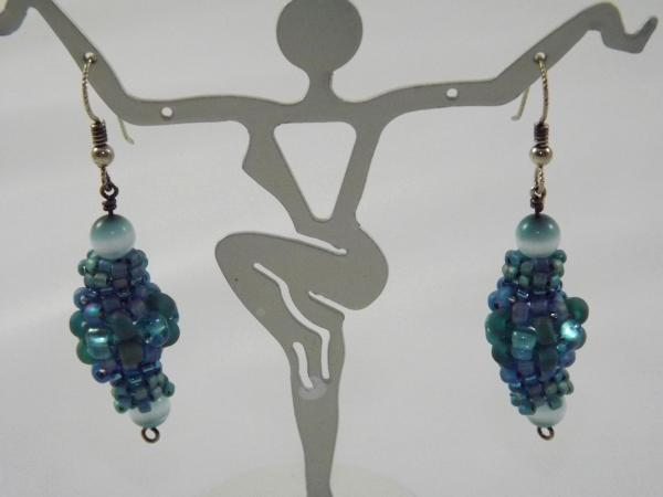 E-30 Shades of Turquoise Beaded Bead Earrings