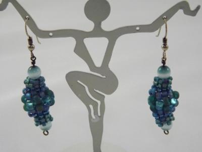 E-30 Shades of Turquoise Beaded Bead Earrings