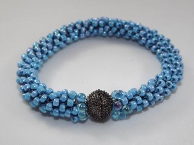 B-73 powder blue AB crocheted rope bracelet