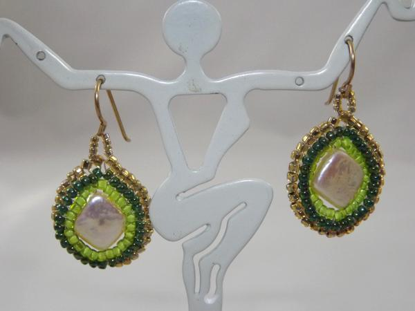 E-32 Square Pearl & Green Bead Earrings