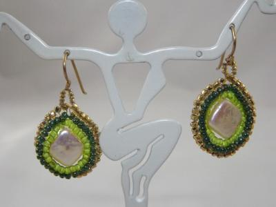 E-32 Square Pearl & Green Bead Earrings