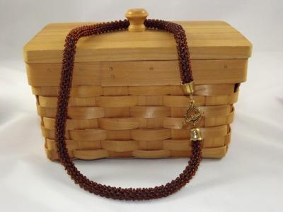 N-32 Dark Rootbeer Crocheted Rope Necklace