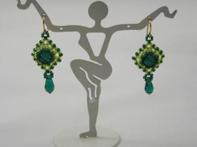 E-9 Green Swarovski Square Crystal Earrings
