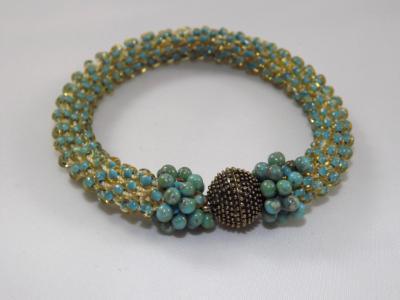 B-72 turquoise crocheted rope bracelet