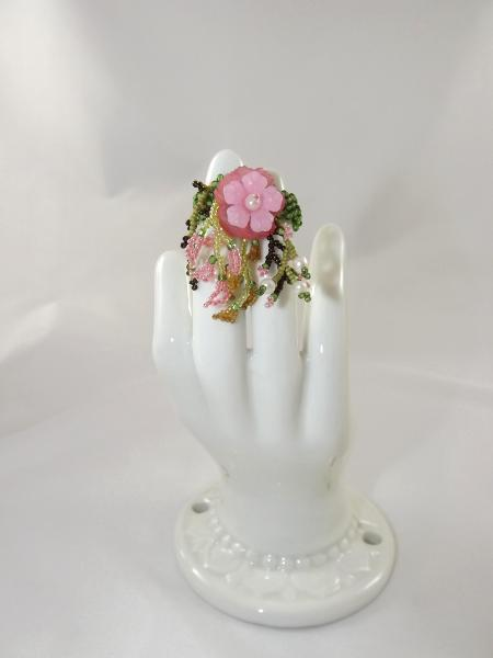 R-9 Green and Pink Beaded Ring